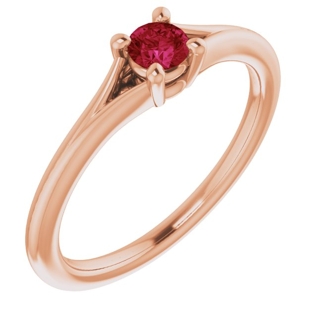 Chatham Created Ruby Ring in 14 Karat Rose Gold Chatham Lab-Created Ruby Youth Solitaire Ring