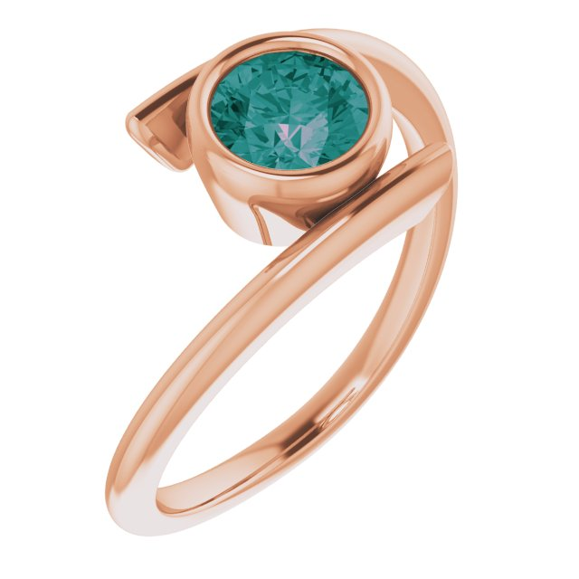 Chatham Created Alexandrite Ring in 14 Karat Rose Gold Chatham® Created Alexandrite Ring