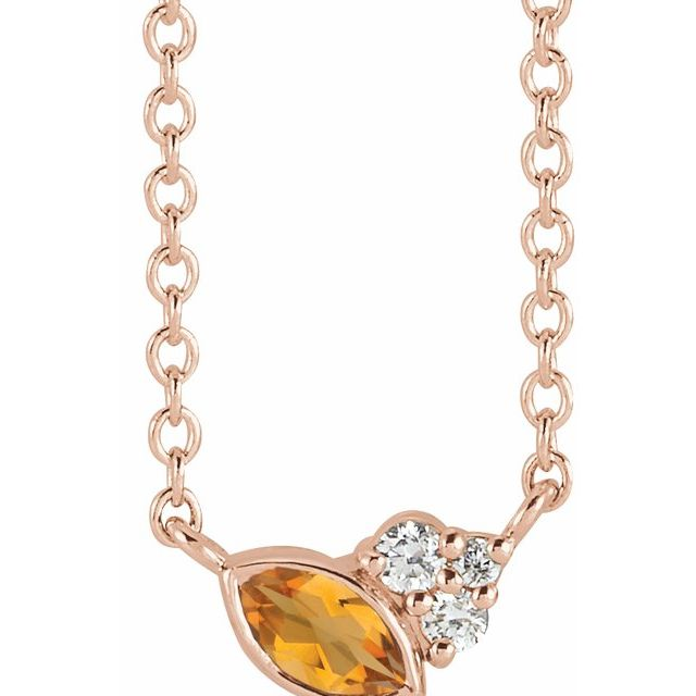 Golden Citrine Necklace in 14 Karat Rose Gold Citrine & .03 Carat Diamond 16