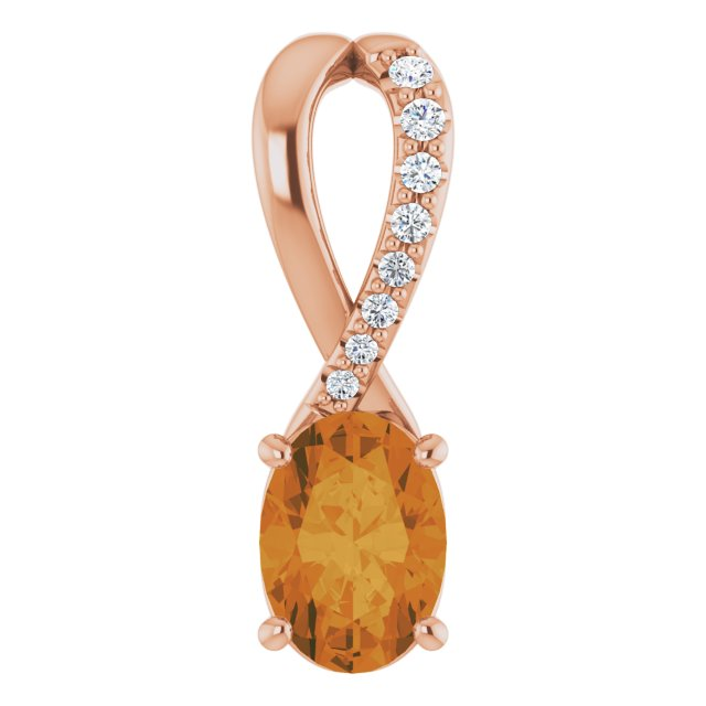 Golden Citrine Pendant in 14 Karat Rose Gold Citrine & .04 Carat Diamond Pendant