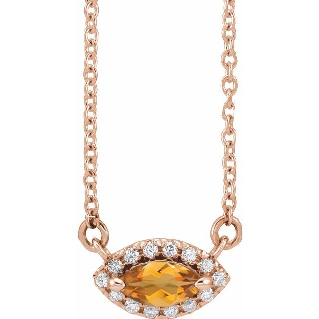Golden Citrine Necklace in 14 Karat Rose Gold Citrine & .05 Carat Diamond Halo-Style 16