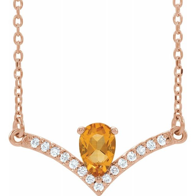 Golden Citrine Necklace in 14 Karat Rose Gold Citrine & .06 Carat Diamond 16
