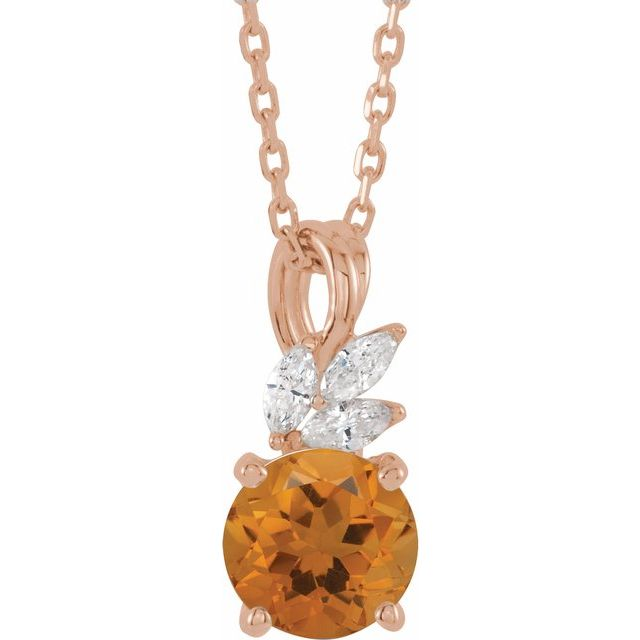 Golden Citrine Necklace in 14 Karat Rose Gold Citrine & 1/10 Carat Diamond 16-18