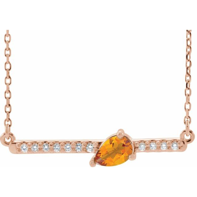 Golden Citrine Necklace in 14 Karat Rose Gold Citrine & 1/10 Carat Diamond 16