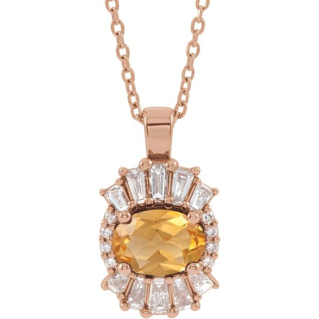 Golden Citrine Necklace in 14 Karat Rose Gold Citrine & 1/3 Carat Diamond 16-18