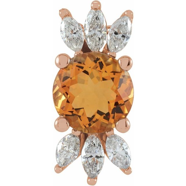 Golden Citrine Pendant in 14 Karat Rose Gold Citrine & 1/4 Carat Diamond Pendant