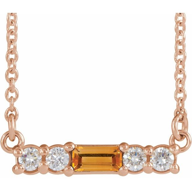 Golden Citrine Necklace in 14 Karat Rose Gold Citrine & 1/5 Carat Diamond 18