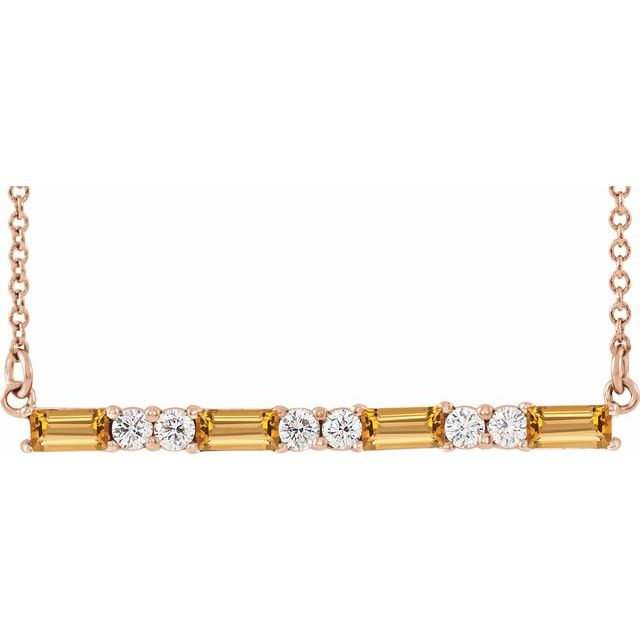 Golden Citrine Necklace in 14 Karat Rose Gold Citrine & 1/5 Carat Diamond Bar 16-18