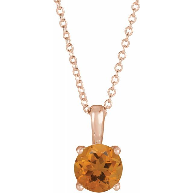 Golden Citrine Necklace in 14 Karat Rose Gold Citrine 16-18