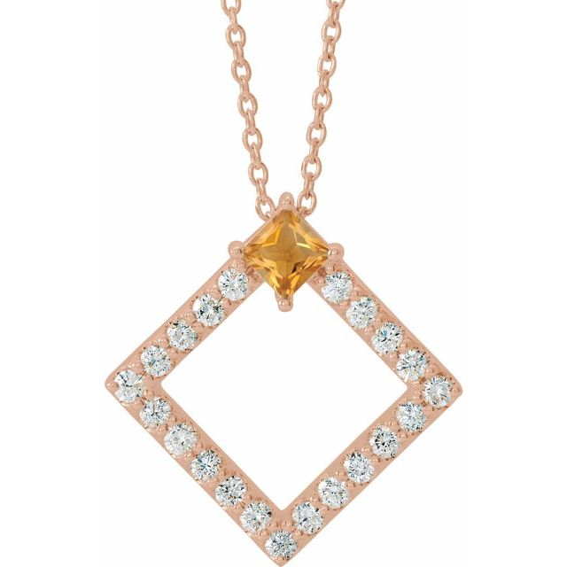 Golden Citrine Necklace in 14 Karat Rose Gold Citrine & 3/8 Carat Diamond 16-18