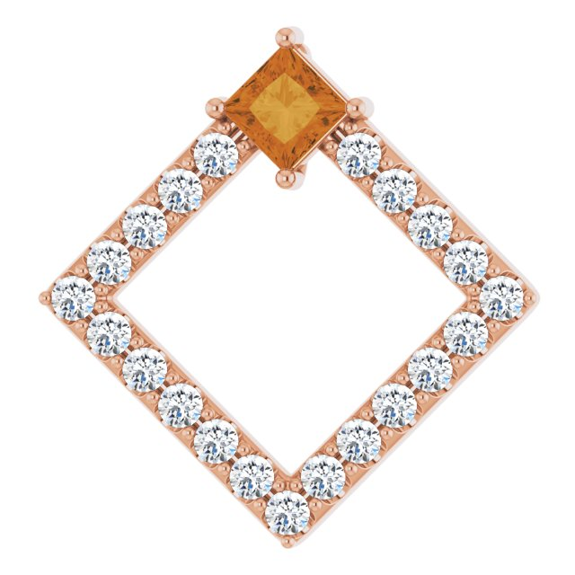 Golden Citrine Pendant in 14 Karat Rose Gold Citrine & 3/8 Carat Diamond Pendant