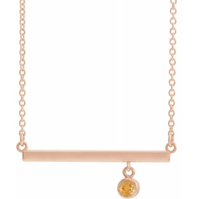 Golden Citrine Necklace in 14 Karat Rose Gold Citrine Bezel-Set 16