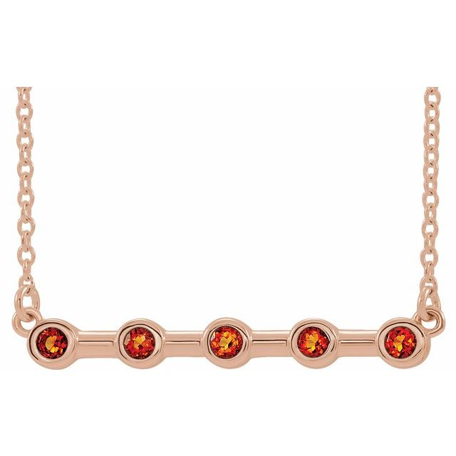 Golden Citrine Necklace in 14 Karat Rose Gold Citrine Bezel-Set Bar 16