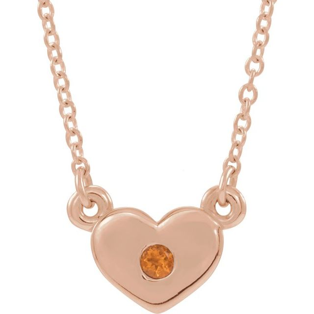 Golden Citrine Necklace in 14 Karat Rose Gold Citrine Heart 16