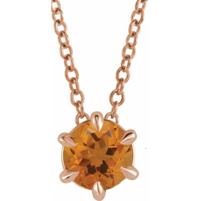 Golden Citrine Necklace in 14 Karat Rose Gold Citrine Solitaire 16-18