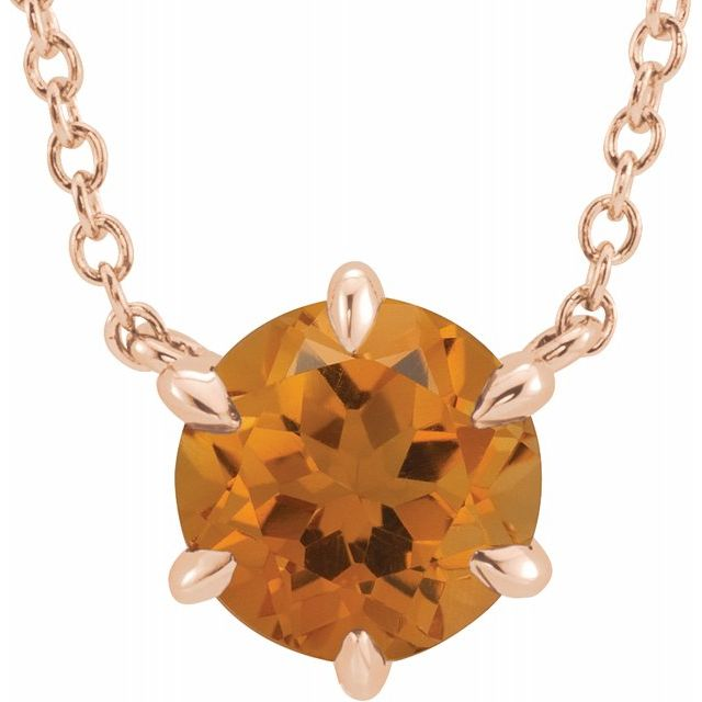 Golden Citrine Necklace in 14 Karat Rose Gold Citrine Solitaire 16