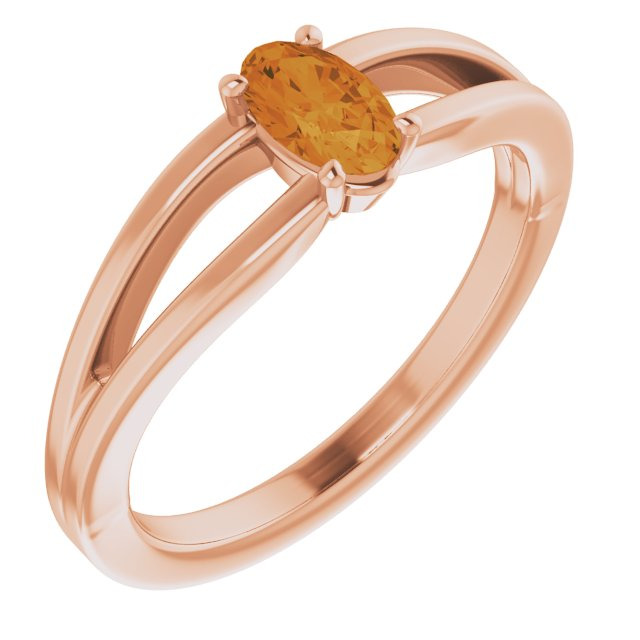 Golden Citrine Ring in 14 Karat Rose Gold Citrine Solitaire Youth Ring