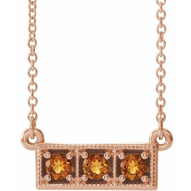 Golden Citrine Necklace in 14 Karat Rose Gold Citrine Three-Stone Granulated Bar 16-18