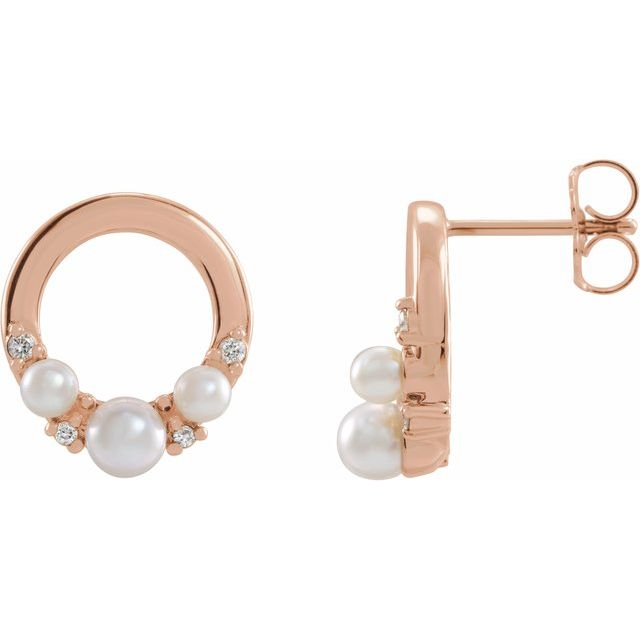 White Seed Pearl Earrings in 14 Karat Rose Gold Cultured Seed Pearl & .06 Carat Diamond Circle Earrings