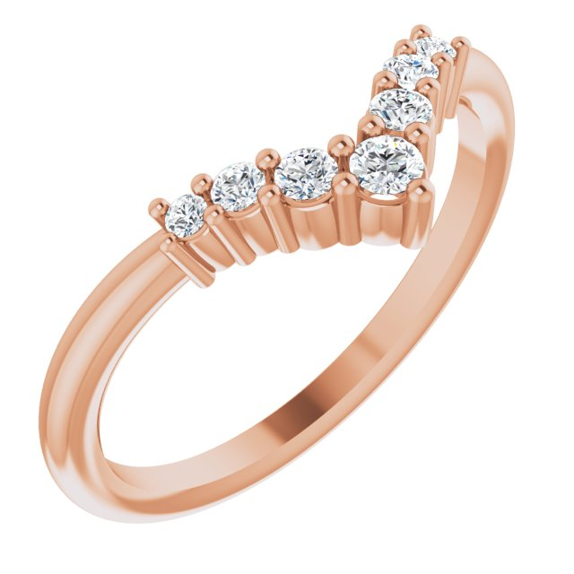 White Diamond Ring in 14 Karat Rose Gold Diamond Graduated