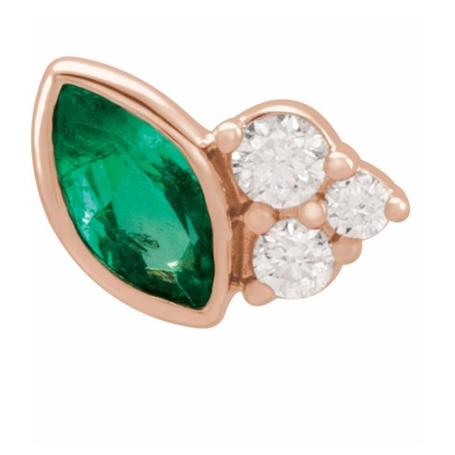 Genuine Emerald Earrings in 14 Karat Rose Gold Emerald & .03 Carat Diamond Left Earring