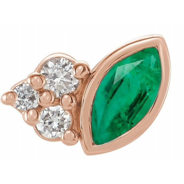Genuine Emerald Earrings in 14 Karat Rose Gold Emerald & .03 Carat Diamond Right Earring