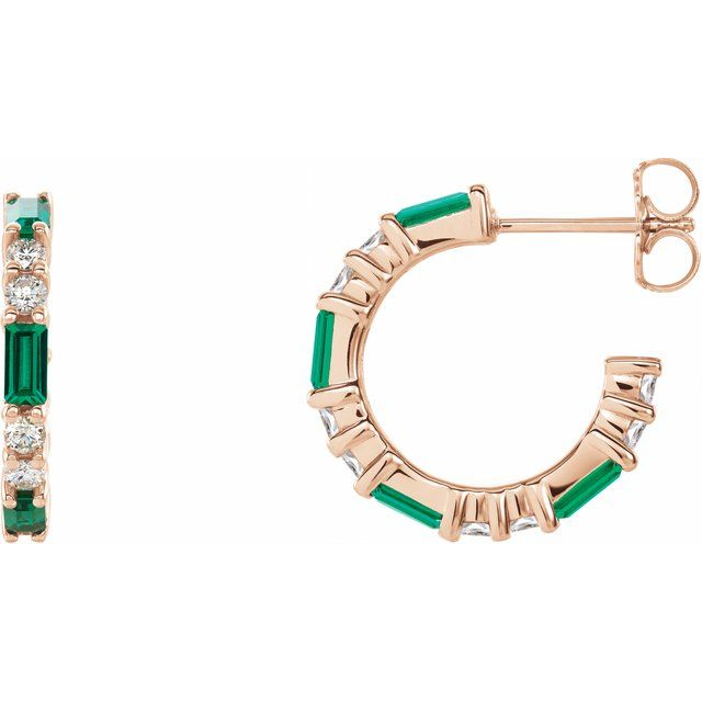 Genuine Emerald Earrings in 14 Karat Rose Gold Emerald & 1/2 Carat Diamond Earrings