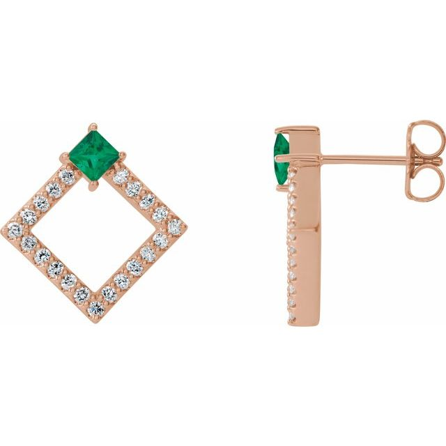 Genuine Emerald Earrings in 14 Karat Rose Gold Emerald & 1/3 Carat Diamond Earrings