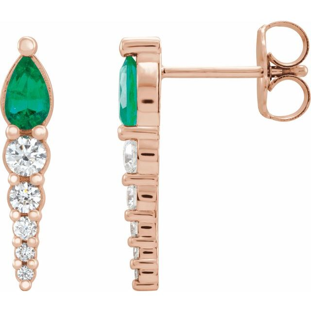 Genuine Emerald Earrings in 14 Karat Rose Gold Emerald & 1/4 Carat Diamond Earrings