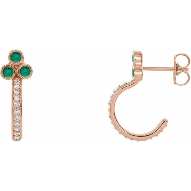 Genuine Emerald Earrings in 14 Karat Rose Gold Emerald & 1/4 Carat Diamond J-Hoop Earrings