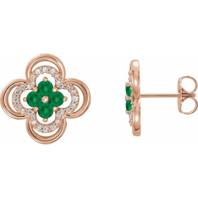 Genuine Emerald Earrings in 14 Karat Rose Gold Emerald & 1/5 Carat Diamond Clover Earrings