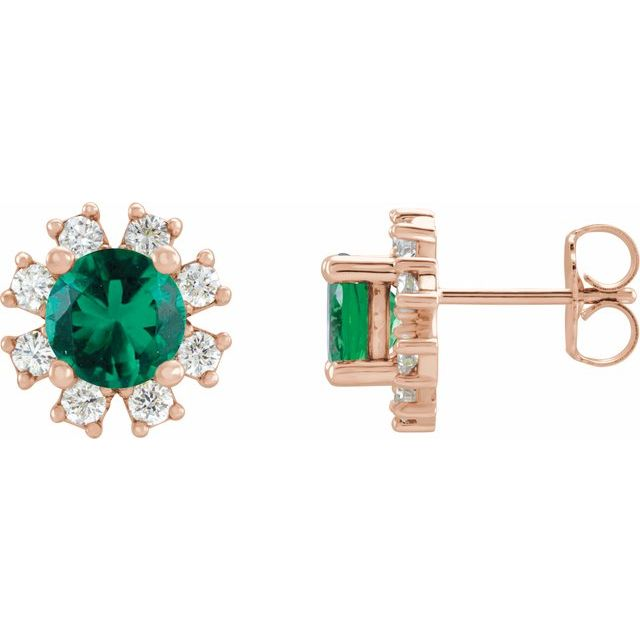 Genuine Emerald Earrings in 14 Karat Rose Gold Emerald & 1/5 Carat Diamond Earrings