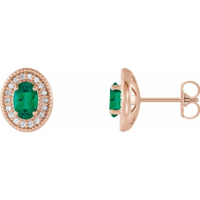 Genuine Emerald Earrings in 14 Karat Rose Gold Emerald & 1/5 Carat Diamond Halo-Style Earrings