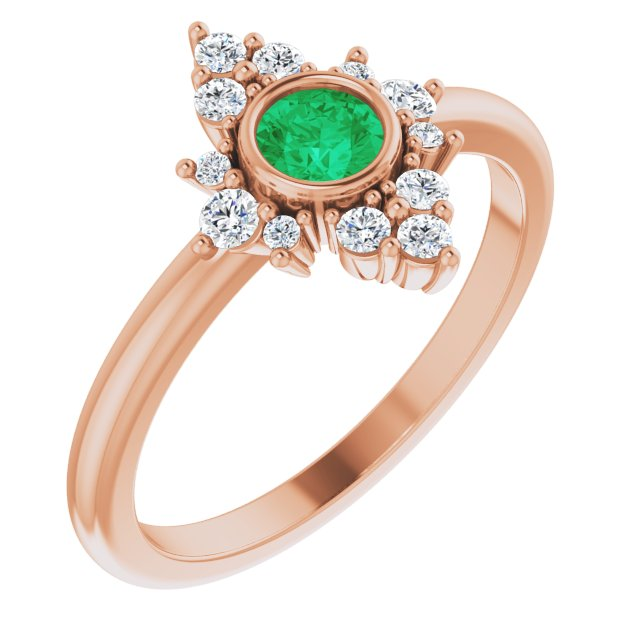 Genuine Emerald Ring in 14 Karat Rose Gold Emerald & 1/5 Carat Diamond Ring