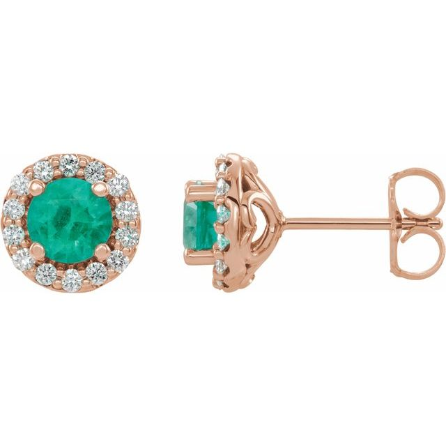Genuine Emerald Earrings in 14 Karat Rose Gold Emerald & 1/6 Carat Diamond Earrings