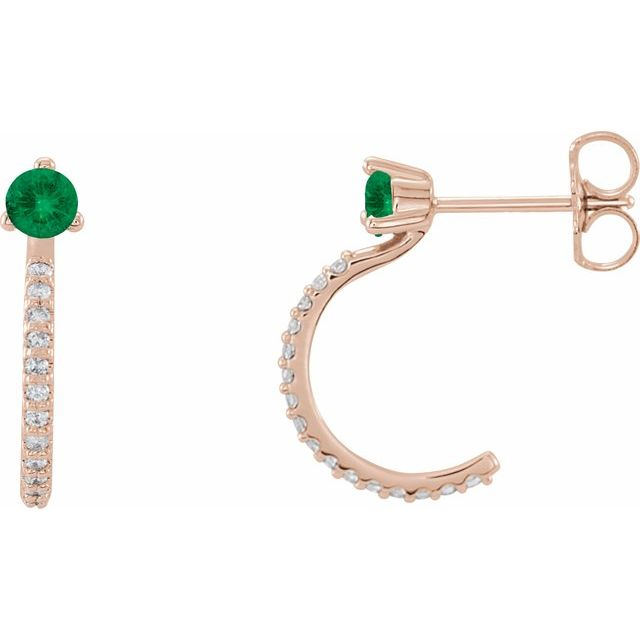 Genuine Emerald Earrings in 14 Karat Rose Gold Emerald & 1/6 Carat Diamond Hoop Earrings