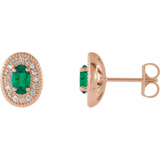 Genuine Emerald Earrings in 14 Karat Rose Gold Emerald & 1/8 Carat Diamond Halo-Style Earrings
