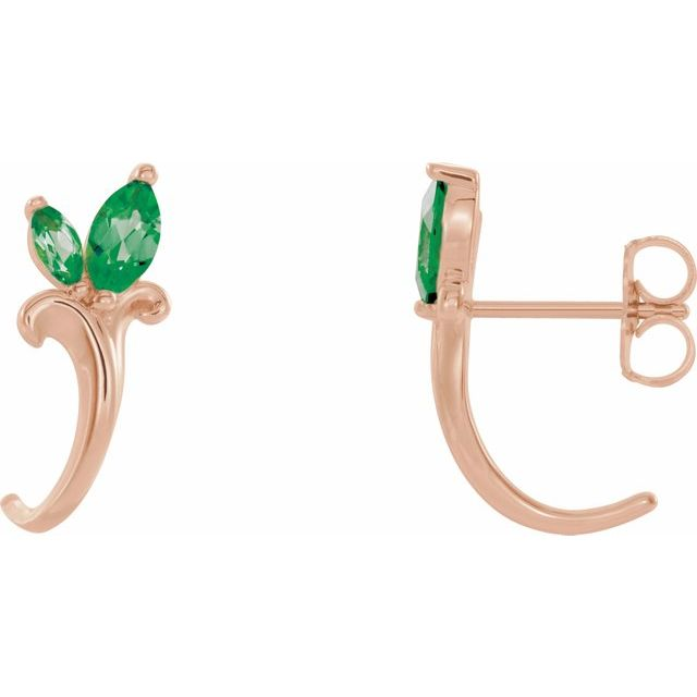 Genuine Emerald Earrings in 14 Karat Rose Gold Emerald Floral-Inspired J-Hoop Earrings