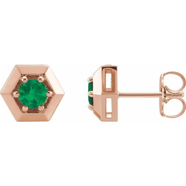 Genuine Emerald Earrings in 14 Karat Rose Gold Emerald Geometric Earrings