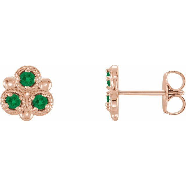 Genuine Emerald Earrings in 14 Karat Rose Gold Emerald Three-Stone Earrings