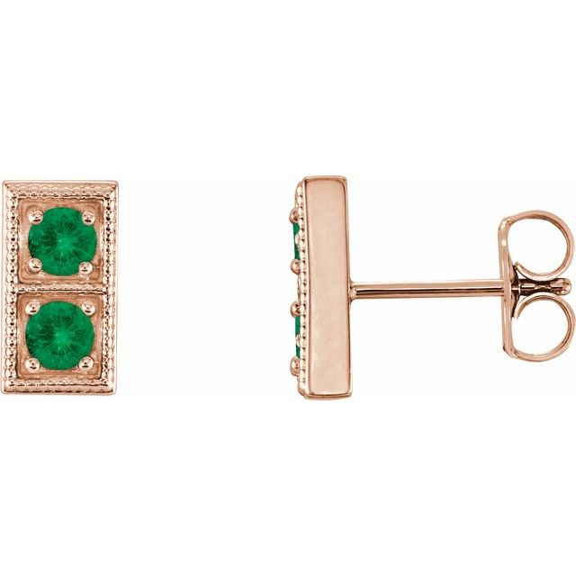 Genuine Emerald Earrings in 14 Karat Rose Gold EmeraldTwo-Stone Earrings