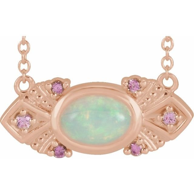 White Opal Necklace in 14 Karat Rose Gold Ethiopian Opal & Pink Sapphire Vintage-Inspired 16