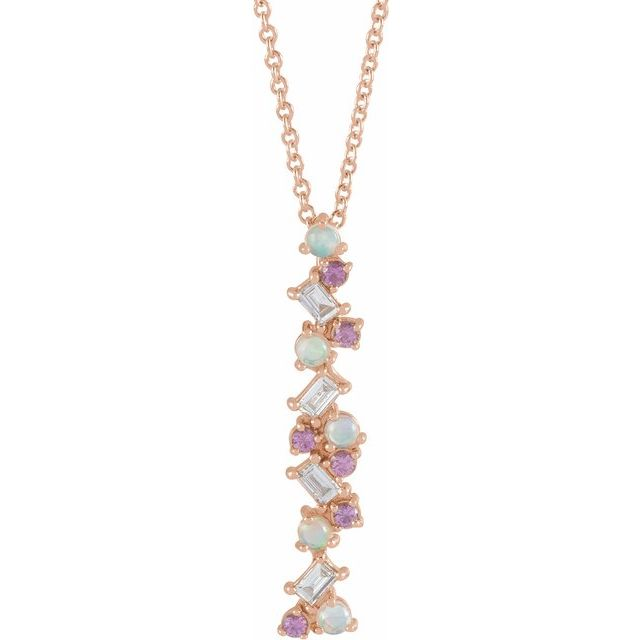 Multi-Gemstone Necklace in 14 Karat Rose Gold Ethiopian Opals, Pink Sapphires & 1/8 Carat Diamond Scattered Bar 16-18