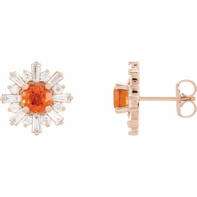 Fire Opal Earrings in 14 Karat Rose Gold Fire Opal & 3/4 Carat Diamond Earrings