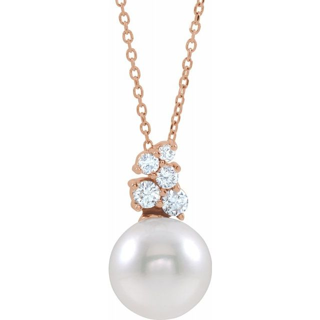 White Pearl Necklace in 14 Karat Rose Gold Freshwater Cultured Pearl & 1/4 Carat Diamond 16-18