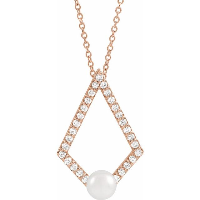 Cultured Freshwater Pearl Necklace in 14 Karat Rose Gold Freshwater Cultured Pearl & 1/4 Carat Diamond Geometric 16-18