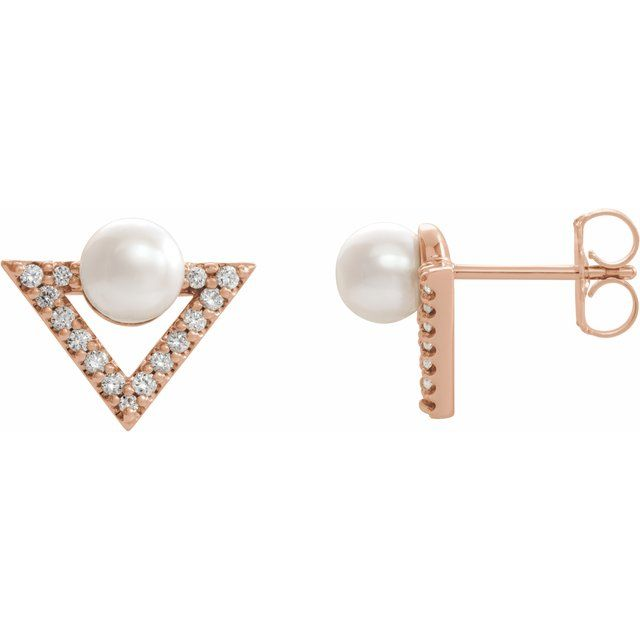 Freshwater Pearl Earrings in 14 Karat Rose Gold Freshwater Cultured Pearl & 1/5 Carat Diamond Earrings