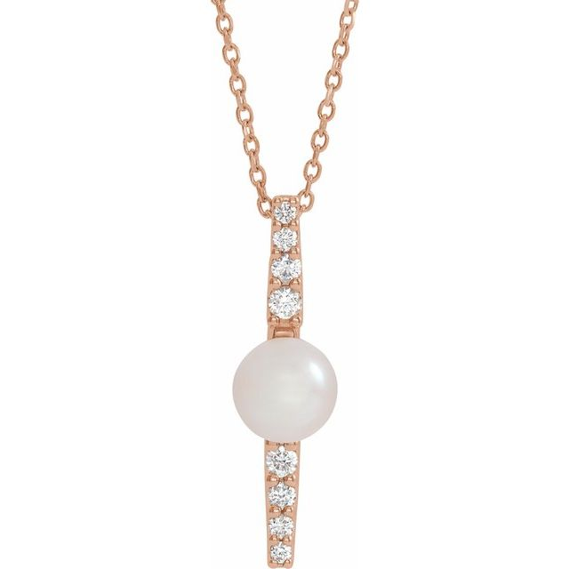 Cultured Freshwater Pearl Necklace in 14 Karat Rose Gold Freshwater Cultured Pearl & 1/6 Carat Diamond 16-18