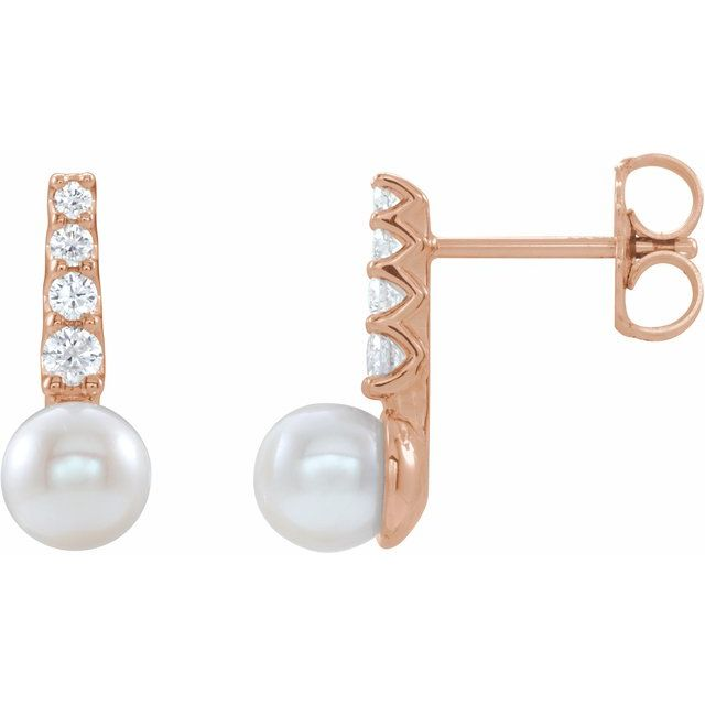 White Pearl Earrings in 14 Karat Rose Gold Freshwater Cultured Pearl & 1/6 Carat Diamond Earrings