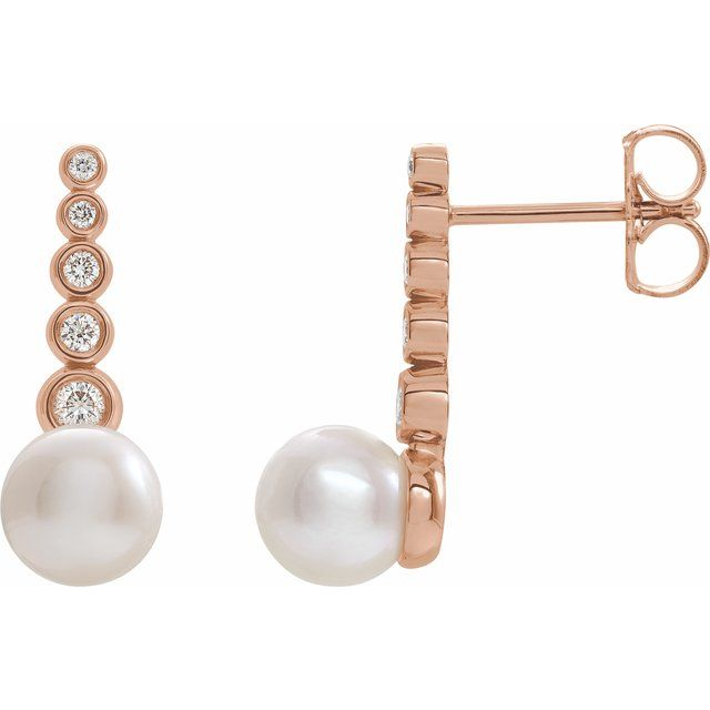Freshwater Pearl Earrings in 14 Karat Rose Gold Freshwater Cultured Pearl & 1/8 Carat Diamond Earrings